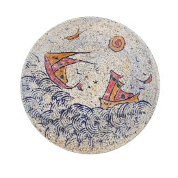 "Decorative Plate - Handmade Ceramic Table or Wall Art Decor - ""Sea & Ship"" Design, 36cm (14.2"")"