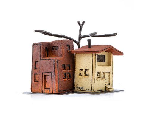 "Ceramic Sculpture ""Houses"" Design. Handmade Decorative Ornament 8"" (20cm)"