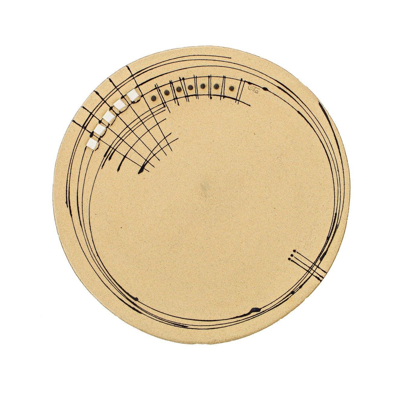 Large Decorative Ceramic Platter Handmade Modern Table Art Decor Beige 17  (43cm)  sc 1 st  Elite Crafters & Large Decorative Ceramic Platter Handmade Modern Table Art Decor ...