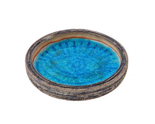 Διακοσμητικό Τασάκι, Κεραμικό με Μπλε Γυαλί - Σχέδιο Μάτι