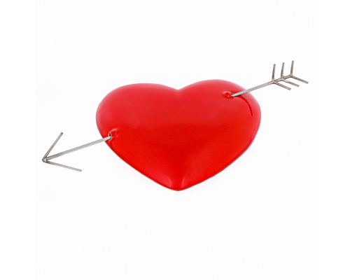 Red Love Heart Arrowed - Glossy Ceramic & Metal - Handmade Wall Decor