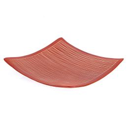"Decorative Platter, Square & Curvy - Handmade Ceramic - Small Red 8.2"" (21x21cm)"