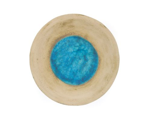 Platter - Handmade Beige Ceramic & Blue Glass - Casual Style - Diameter 36cm 14.2''