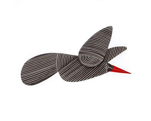 Κεραμικό Πουλί - Μοντέρνο Διακοσμητικό Τοίχου – Μαύρο, Σχέδιο Δ'