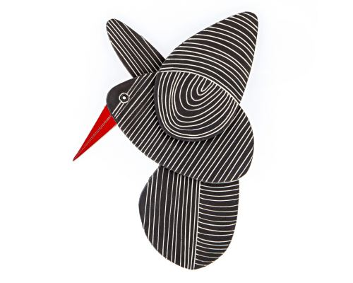 Κεραμικό Πουλί - Μοντέρνο Διακοσμητικό Τοίχου – Μαύρο, Σχέδιο Ε'