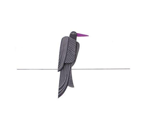 Κεραμικό Πουλί - Μοντέρνο Διακοσμητικό Τοίχου – Μαύρο, Σχέδιο Α'
