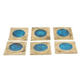Σουβέρ - Σετ 6 Κεραμικά με Μπλέ Γυαλί