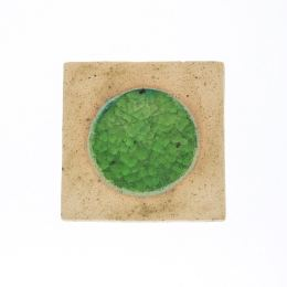 Σουβέρ - Σετ 6 Κεραμικά με Πράσινο Γυαλί