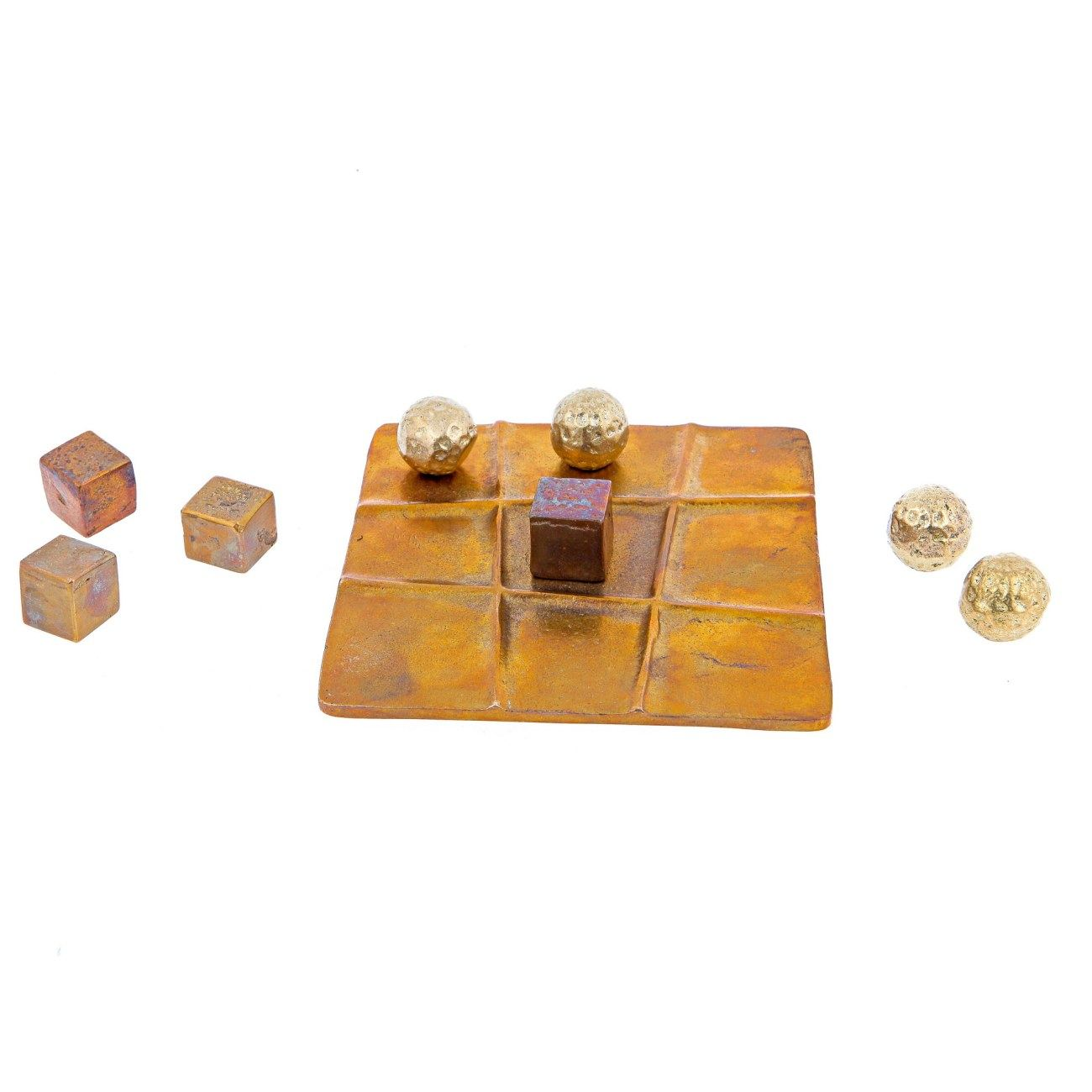 Decorative Product Board : Tic tac toe decorative board game handmade bronze metal