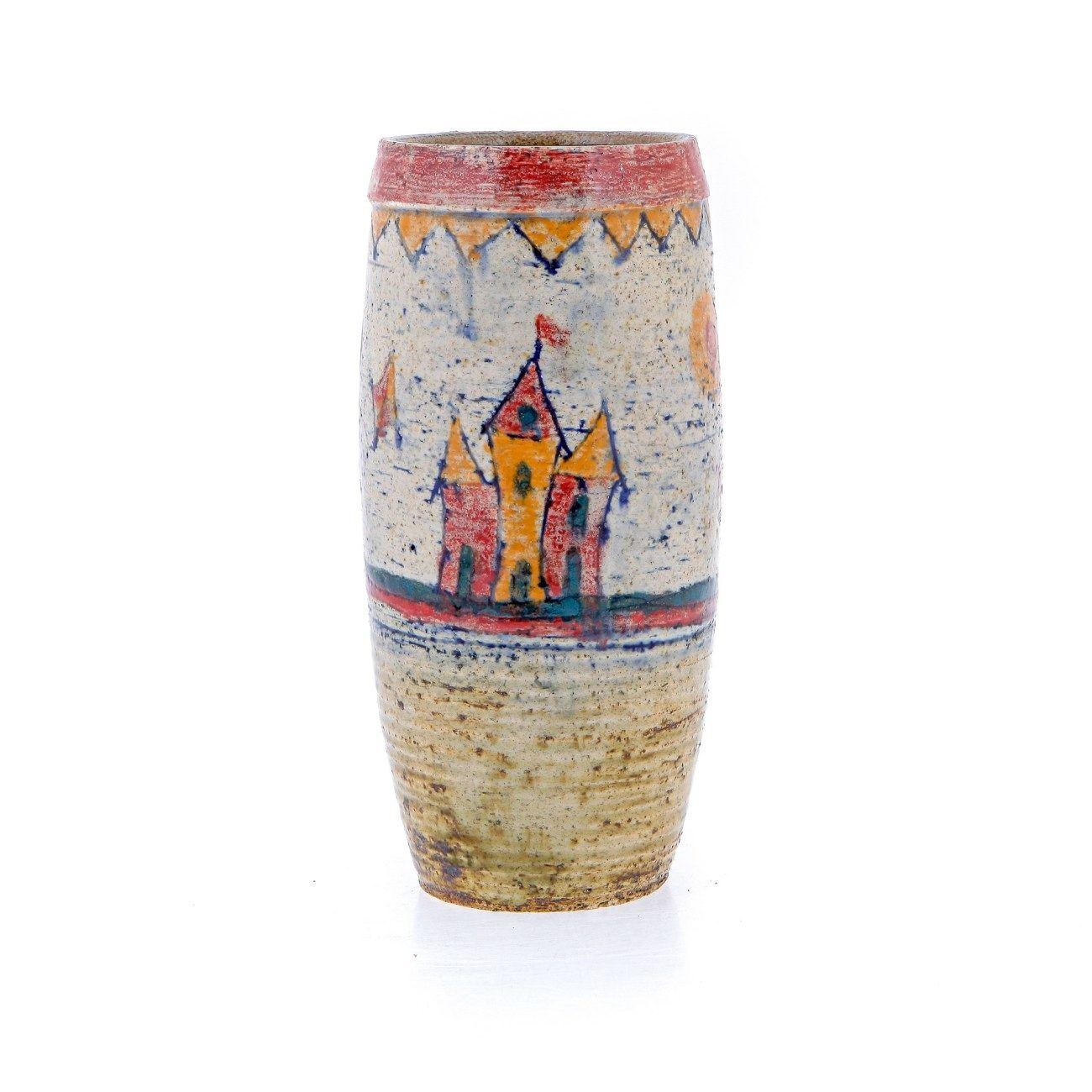 ceramic decorative castle design round flower vase, unique hand