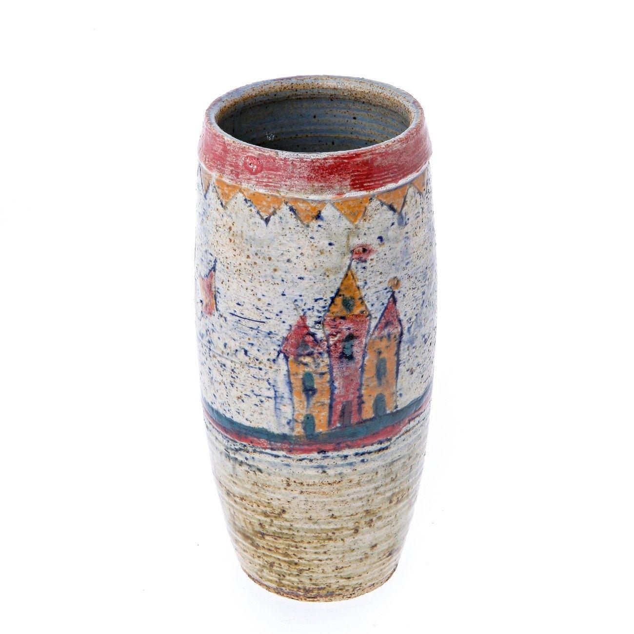 modern ceramic decorative castle design round flower vase, unique
