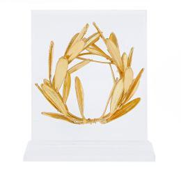 Στεφάνι Ελιάς - Επίχρυσο 24Κ Διακοσμητικό, Ορθια Βάση Πλέξιγκλας