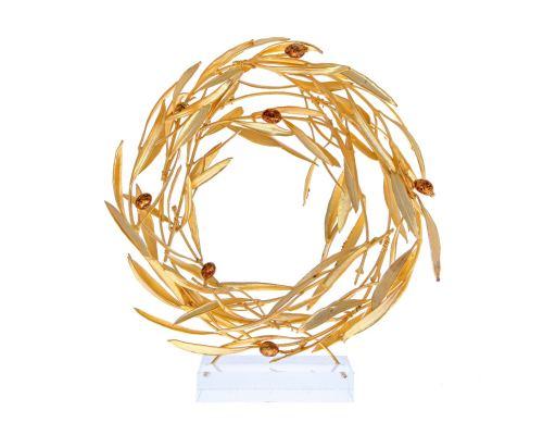 Στεφάνι Ελιάς - Επίχρυσο 24Κ Διακοσμητικό με Καρπούς, Μεσαίο