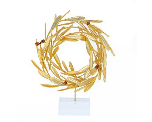 Στεφάνι Ελιάς - Επίχρυσο 24Κ Διακοσμητικό με Καρπούς, Μικρό