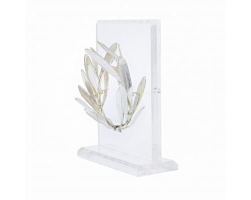 Στεφάνι Ελιάς - Επάργυρο 925° Διακοσμητικό, Όρθια Βάση Πλέξιγκλας