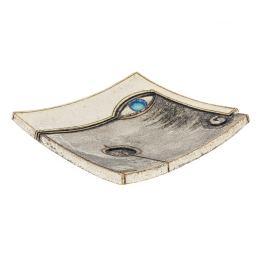 "Decorative Square Platter, Handmade Ceramic Archaic Style - Face Design B 8"" (20cm)"