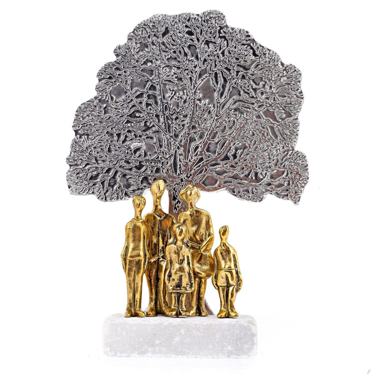family tree metal sculpture handmade bronze aluminum on marble