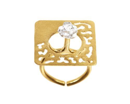Δαχτυλίδι, Επίχρυσο και Επάργυρο Τετράγωνο
