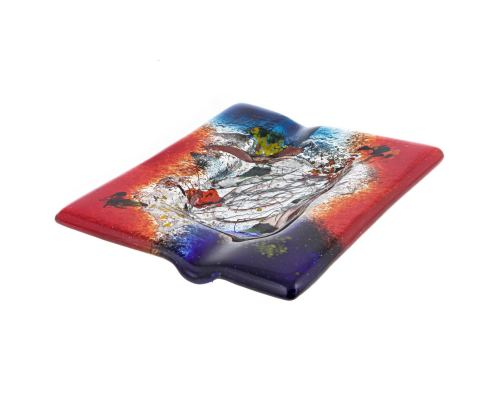 Ashtray - Handmade Fused Glass, Rectangular Shape - Decorative Smoke Accessory - Red Blue 16cm (6.3'')