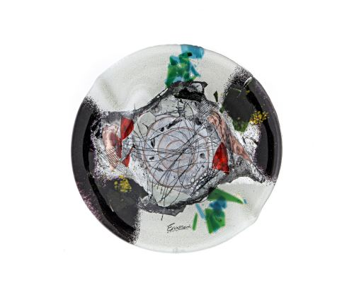 Γυάλινο Τασάκι - Στρογγυλό, Άσπρο - Μαύρο