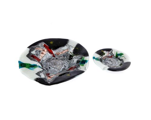 Γυάλινο Στρογγυλό Τασάκι, Άσπρο - Μαύρο 20cm