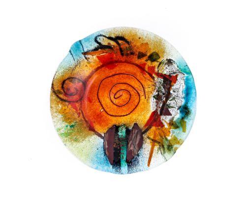 Γυάλινο Τασάκι - Στρογγυλό, Πορτοκαλί - Πράσινο