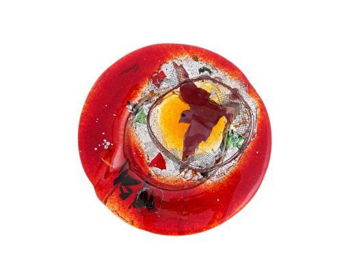 Γυάλινο Τασάκι - Στρογγυλό, Σχέδιο Κόκκινο Πουλί