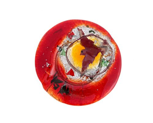 "Ashtray - Handmade Fused Glass, Round Shape - Decorative Smoking Accessory - Red Bird 21cm (8.3"")"