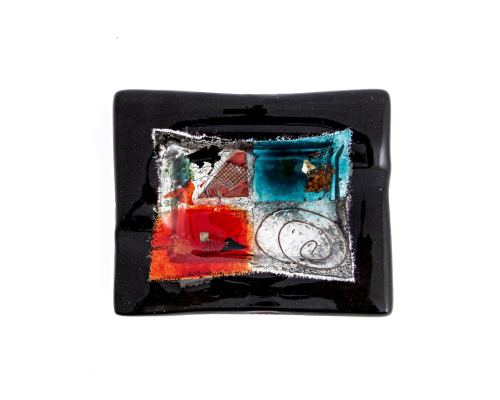 Ashtray - Handmade Fused Glass, Rectangular Shape - Decorative Smoking Accessory - Black 16cm (6.3'')