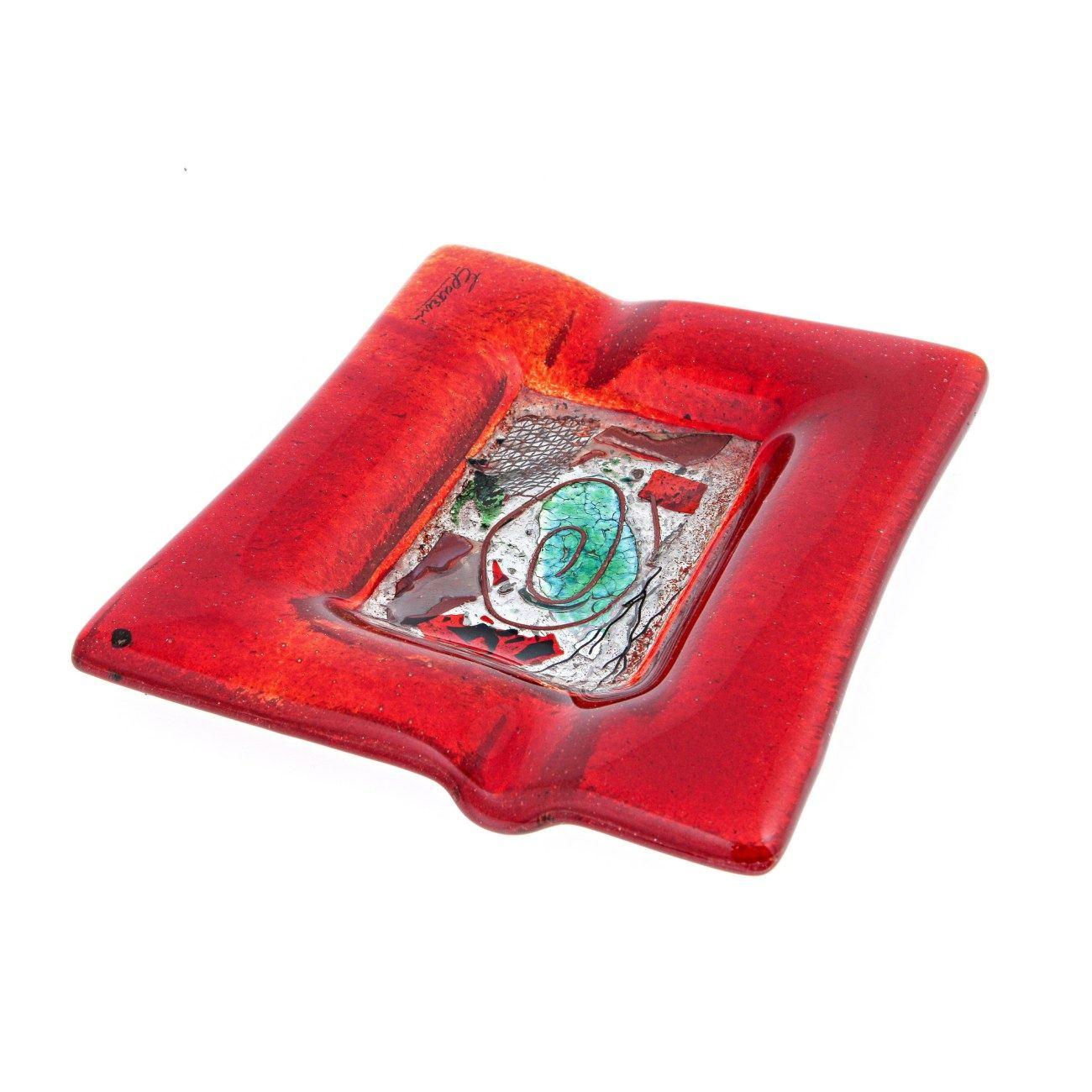 Puzzle Fused Glass Handmade Rectangular Ashtray Decorative Smoking Accessory