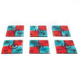 Drink Serving Coasters Set of 6 - Handmade Fused Glass - Spiral, Aqua Blue & Red