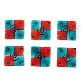 Γυάλινα Σουβέρ - Σετ 6, Μπλε - Κόκκινα