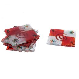 Drink Serving Coasters Set of 6 - Handmade Fused Glass - Spiral, White & Red