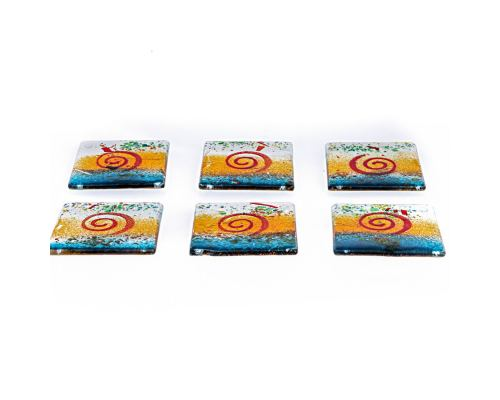 Drink Serving Coasters Set of 6 - Handmade Fused Glass - Spiral - Green, Orange & White