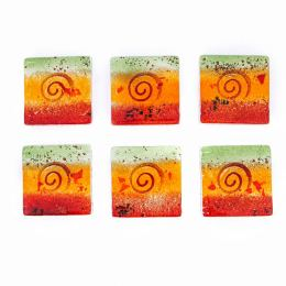 Drink Serving Coasters Set of 6 - Handmade Fused Glass - Spiral - Red, Orange & Green
