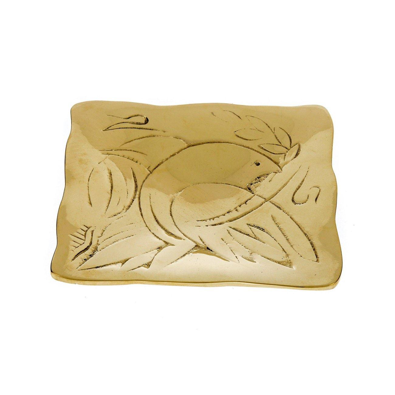 Decorative Metal Plate, Engraved Dove Bird Design - Handmade Solid ...