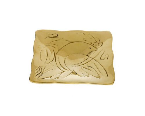 Decorative Metal Plate, Engraved Dove Bird Design - Handmade Solid Bronze, Gold Color, 9.5x9.5cm