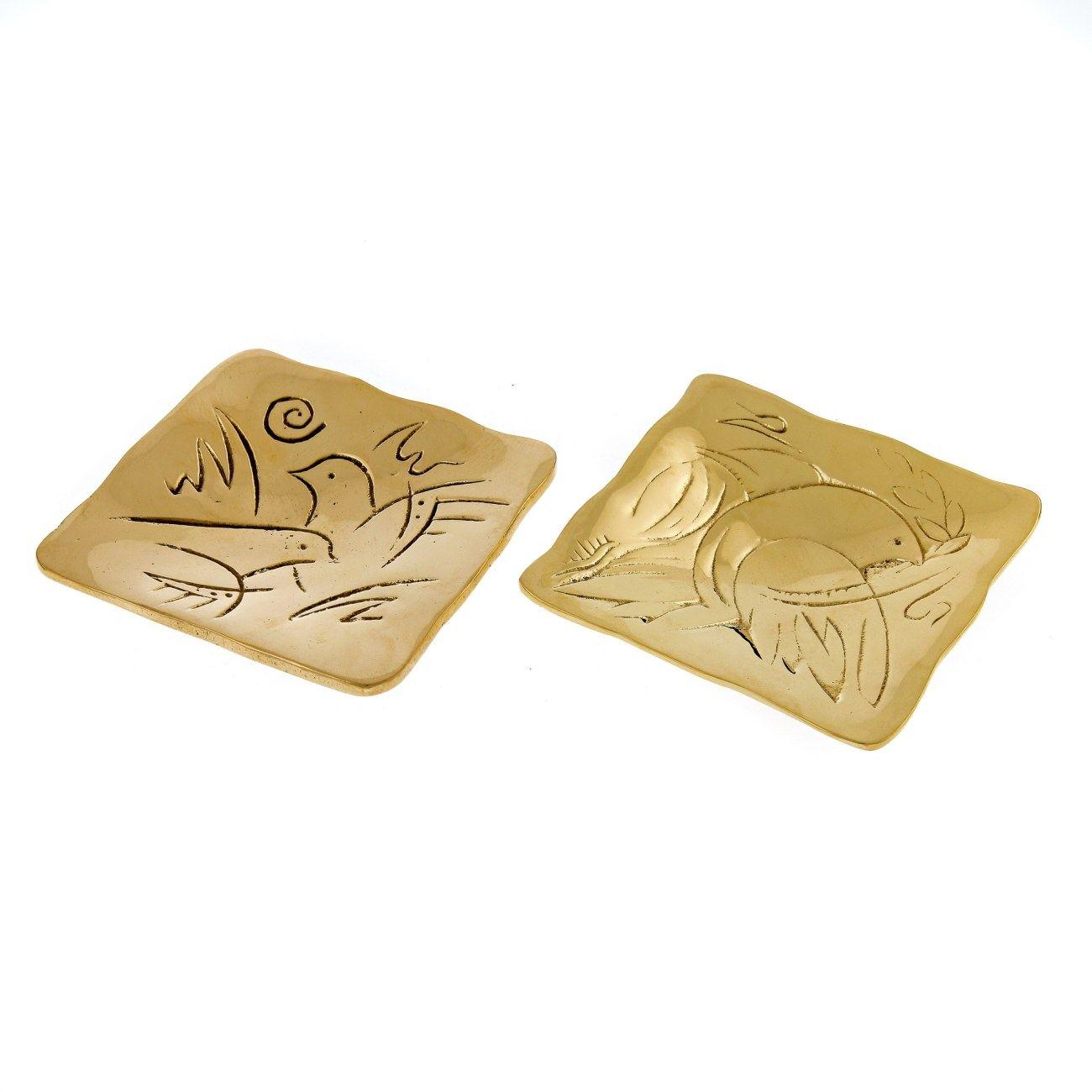 Metal Plate, Engraved Dove Bird Design - Handmade Solid Bronze, Gold ...