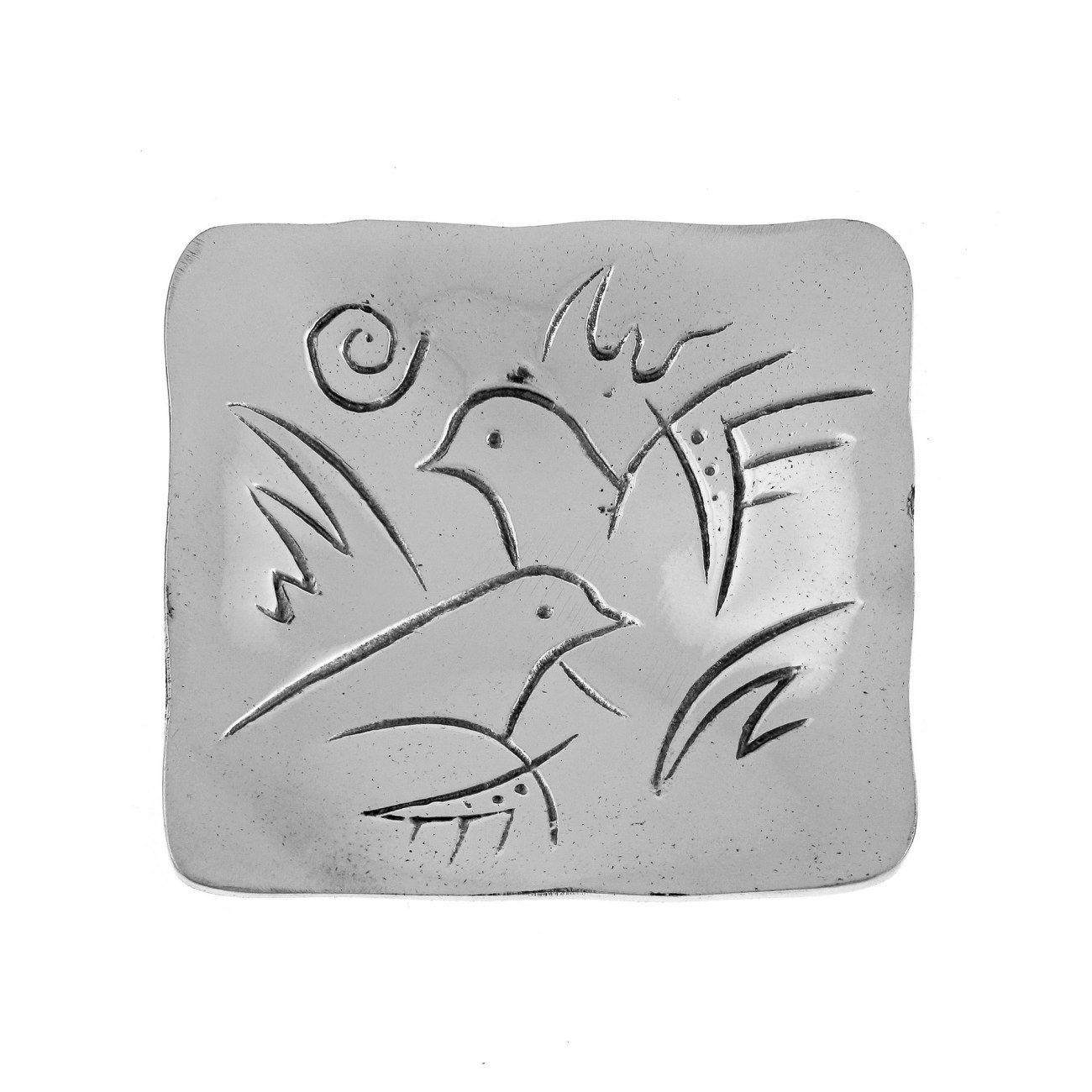 Decorative Metal Plate Engraved 2 Dove Birds Design - Handmade Solid Aluminum Silver Color 9.5x9.5cm  sc 1 st  Elite Crafters & Decorative Metal Plate Engraved 2 Dove Birds Design - Handmade ...