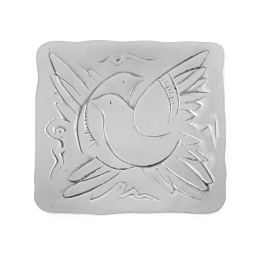 Decorative Metal Plate, Engraved Bird Design - Handmade, Silver Color, 17x17cm