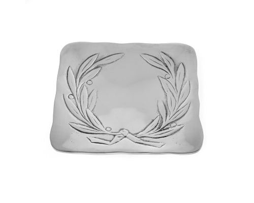 Decorative Metal Plate, Engraved Olive Wreath Design, Handmade, Silver Color 17x17cm