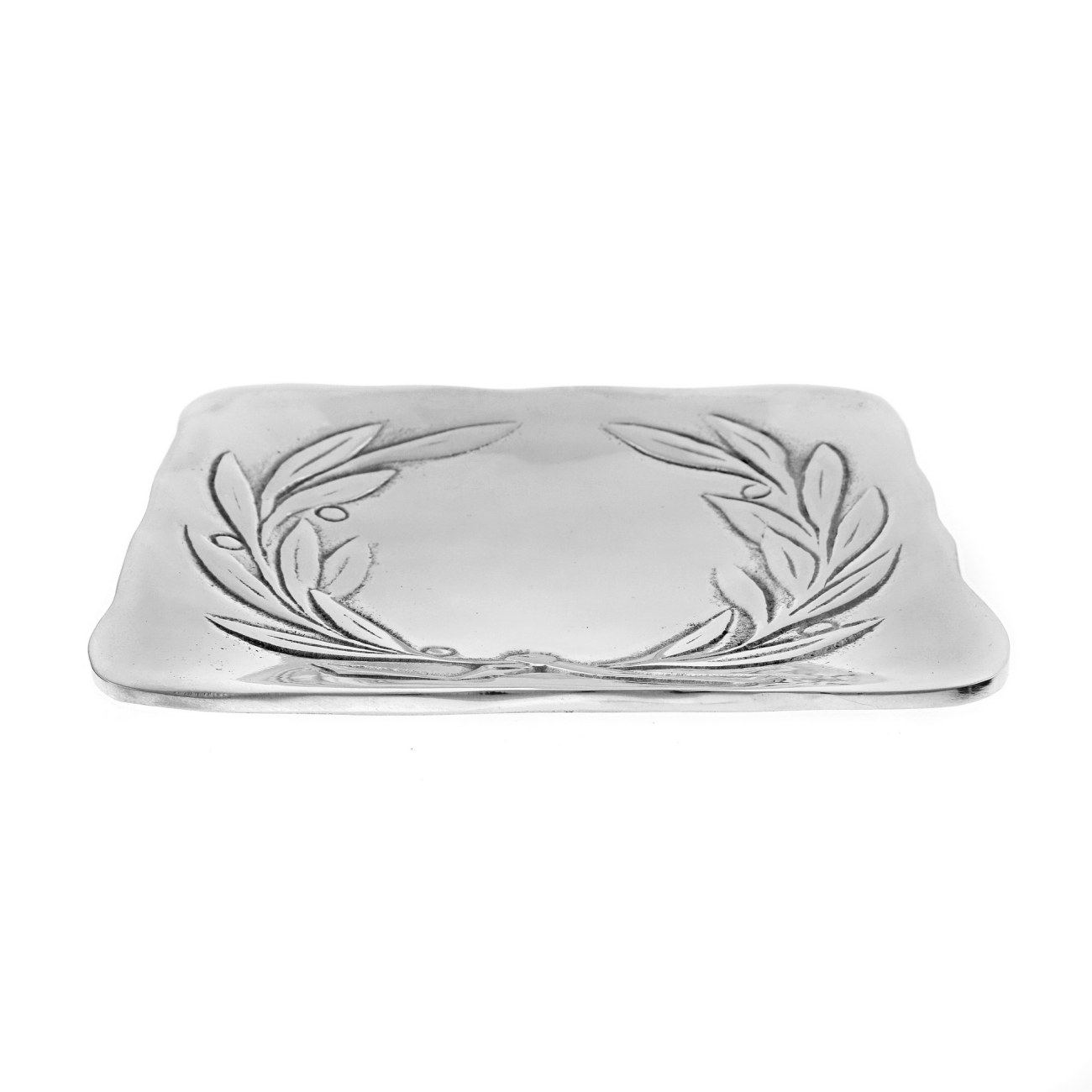 Decorative Metal Plate Engraved Olive Wreath Design Handmade Silver Color 17x17cm