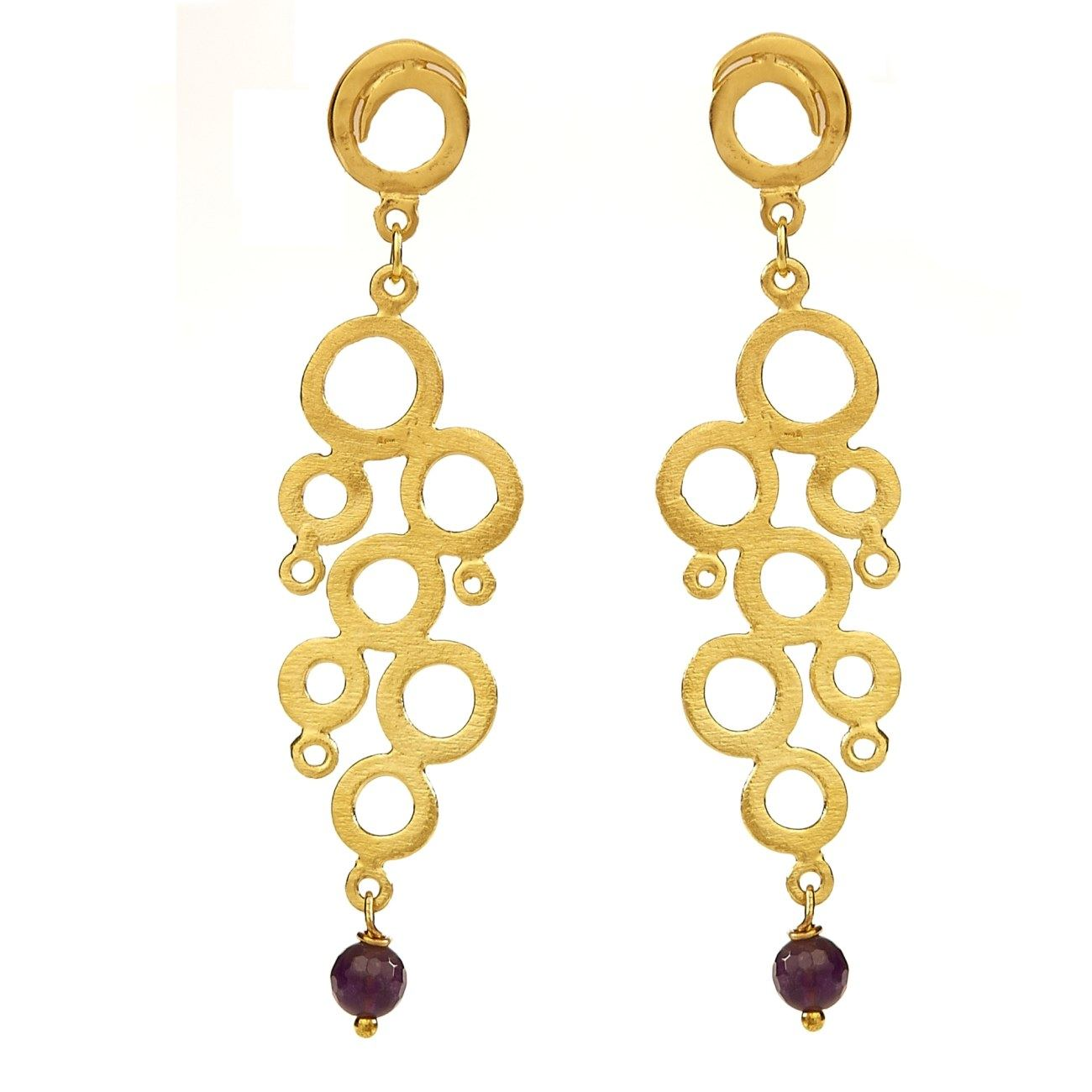 Fashion Jewelry Earrings, Gold Plated, Amethyst Gemstones, Grape ...