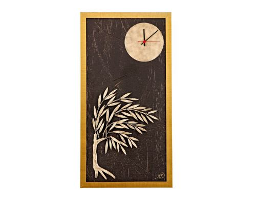 Olive Tree & Round Clock, Wood & Metal Framed Wall Art Ornament - Gold Color, Height 83cm (32.6'')