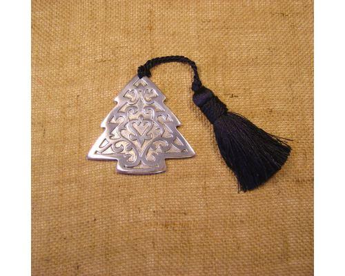Γούρι - Μεταλλικό Έλατο Ασημί με Φούντα