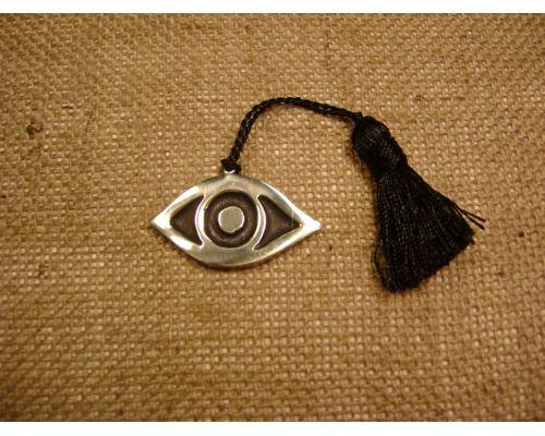 Γούρι - Μεταλλικό Μάτι Ανάγλυφο με Φούντα