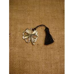 Γούρι - Μεταλλικό Τετράφυλλο Τριφύλλι με Φούντα