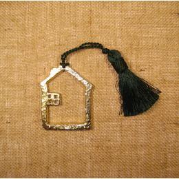 Γούρι- Μεταλλικό Σπίτι Περίγραμμα με Φούντα
