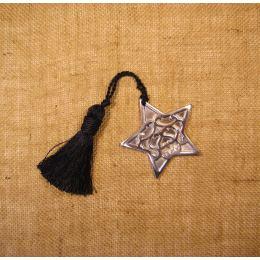 Γούρι - Μεταλλικό Αστέρι Ασημί με Φούντα