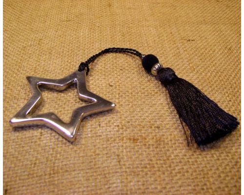 Γούρι - Μεταλλικό Αστέρι Περίγραμμα με Φούντα